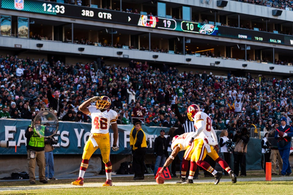 Dec 23, 2012; Philadelphia, PA, USA; Washington Redskins running back Alfred Morris (46) celebrates scoring a touchdown during the third quarter against the Philadelphia Eagles at Lincoln Financial Field. The Redskins defeated the Eagles 27-20. Mandatory Credit: Howard Smith-USA TODAY Sports